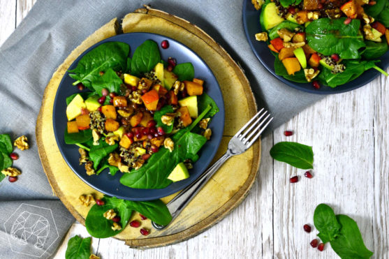 Pumpkin and Spinach Salad with Quinoa