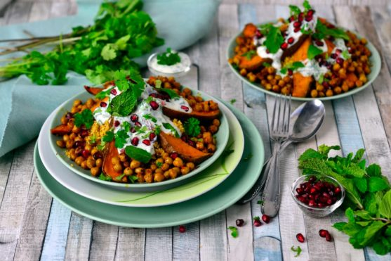 Moroccan Couscous with Roasted Sweet Potatoes