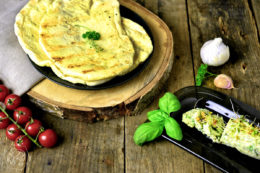 Grilled bread with garlic and herb butter