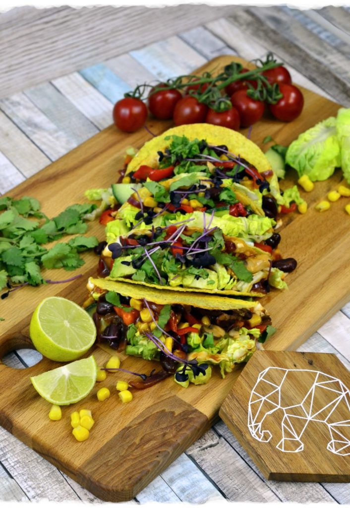 Mexican tacos with vegetables and salsa