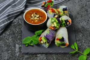 Vietnamese summerrolls with tofu as meat substitute