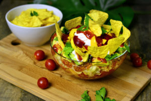 Mexican layered salad with soya mince