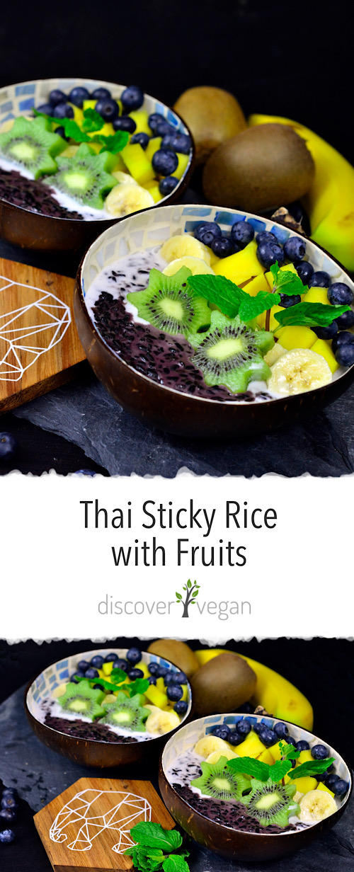 Thai Sticky Rice with Mango and fresh fruits