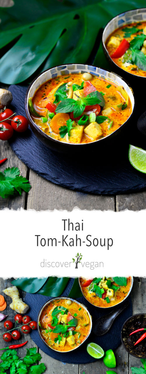 Thai Tom Kah Soup - Vegan with Tofu, Vegetables and Coconut Milk