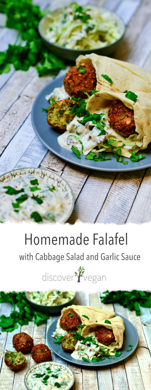 Homemade Falafel with Pointed Cabbage Salad and Vegan Garlic Sauce