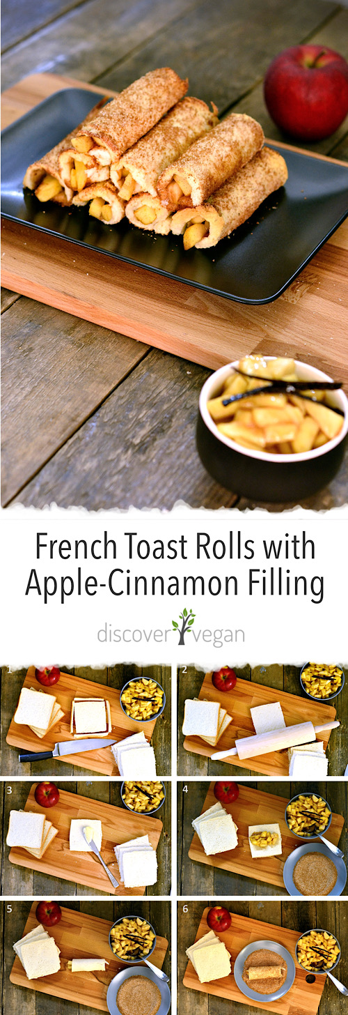 Vegan French Toast Rolls with Apple Cinnamon Filling