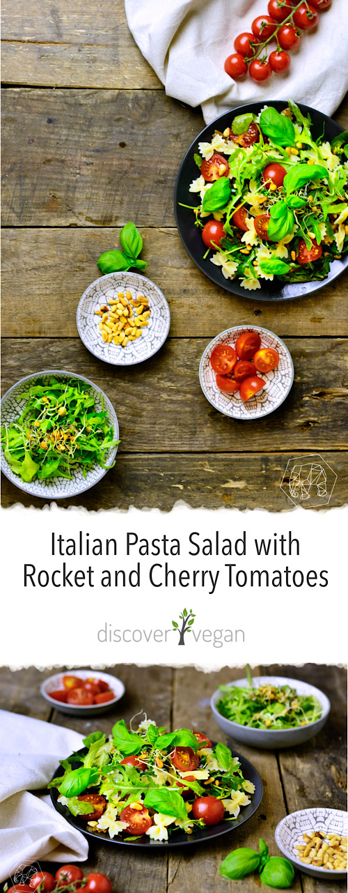 Easy and Quick Italian Pasta Salad with Rocket and Cherry Tomatoes Topped with Pine Nuts - Light Summer Salad