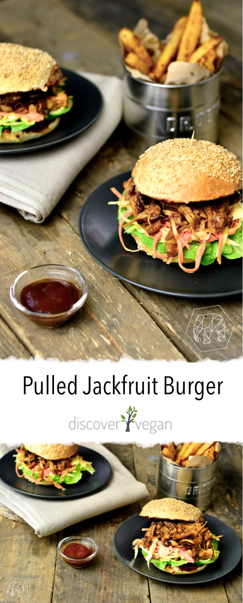 Pulled Jackfruit Burger - veganes Pulled Pork aus Jackfruit mit Krautsalat in einem Burger